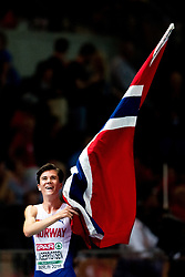 August 10, 2018 - Berlin, GERMANY - 180810 Jakob Ingebrigtsen of Norway celebrates after winning the men's 1500 meter final during the European Athletics Championships on August 10, 2018 in Berlin..Photo: Vegard Wivestad GrÂ¿tt / BILDBYRN / kod VG / 170201 (Credit Image: © Vegard Wivestad Gr¯Tt/Bildbyran via ZUMA Press)