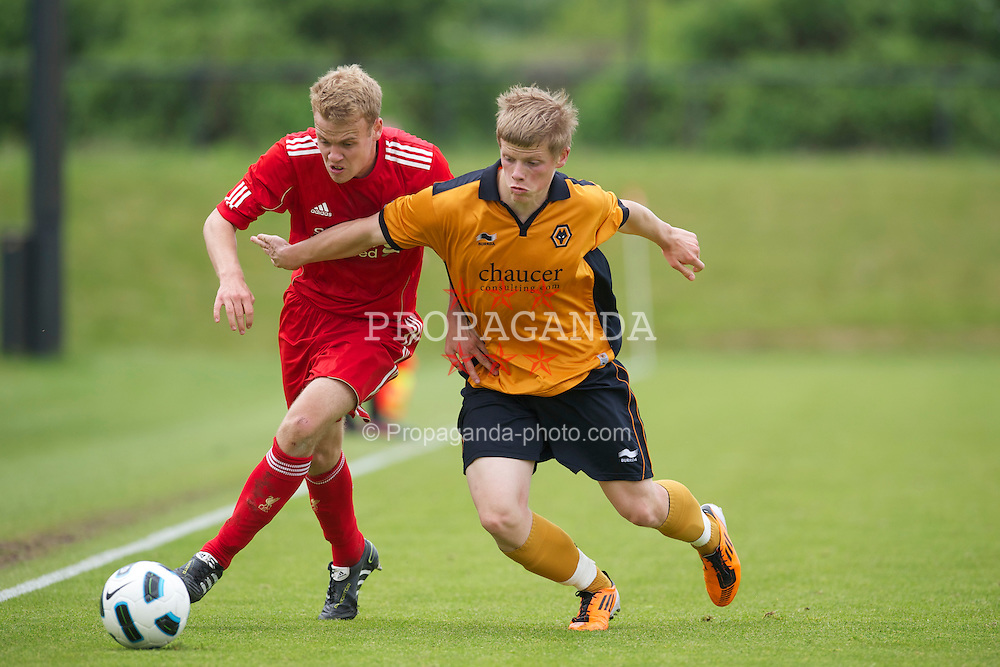 KIRKBY, ENGLAND - Friday, May 6, 2011: Liverpool's Craig Roddan in action against Wolverhampton Wanderers' Rory Gorman during the FA Academy Under 18s League at the Kirkby Academy. (Photo by David Rawcliffe/Propaganda)