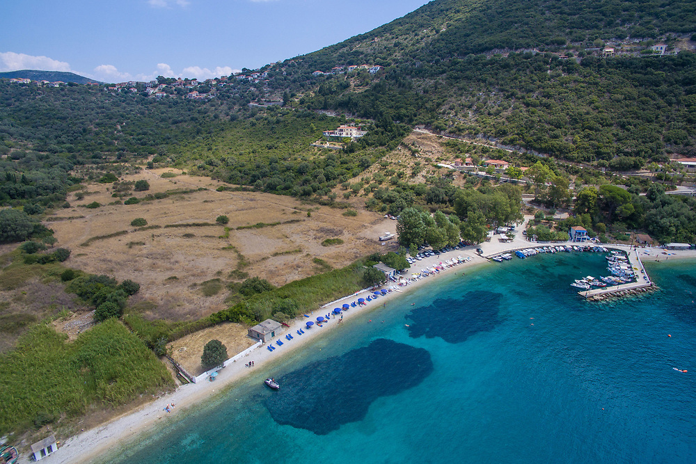 Aerial Drone images of Polis beach, Ithaca island, Greece