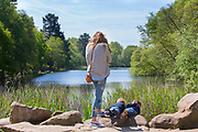 UNITED KINGDOM, London: 10 May 2017 Twins Carlo and Luka (right, aged 3) enjoy peering over the edge into a lake in Windsor Great Park this afternoon. Rick Findler / Story Picture Agency