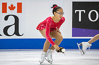 KELOWNA, BC - OCTOBER 25: A young figure skater clears a stuffed tooy from the ice  at Prospera Place on October 25, 2019 in Kelowna, Canada. (Photo by Marissa Baecker/Shoot the Breeze)