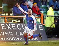 Photo: Chris Ratcliffe.<br />Barnet FC v Carlisle United. Coca Cola League 2. 25/02/2006.<br />Simon Hackney of Carlisle celebrates scoring the winning goal.