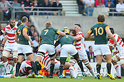 Japan's Captain Michael Leitch contains Japan during the Rugby World Cup Pool B match between South Africa and Japan at the Community Stadium, Brighton and Hove, England on 19 September 2015. Photo by Phil Duncan.