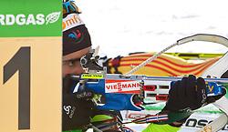 """22.01.2012, Südtirol Arena, Antholz, ITA, E.ON IBU Weltcup, 6. Biathlon, Antholz, Staffel Herren, im Bild Sieger Schlussläufer der französischen Staffel, Martin Fourcade (FRA) beim Schiessen vor der Tafel Nummer Eins // Winner of the French Season cage, Martin Fourcade (FRA) when shooting in front of the panel's number one during Men Relay n E.ON IBU World Cup 6th, """"Southtyrol Arena"""", Antholz-Anterselva, Italy on 2012/01/22, EXPA Pictures © 2012, PhotoCredit: EXPA/ Juergen Feichter"""
