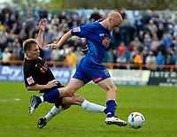 Photo: Ed Godden.<br />Barnet v Stockport County. Coca Cola League 2. 29/04/2006. Andy Hessenthaler (L), tackles Stockport's Jason Taylor.