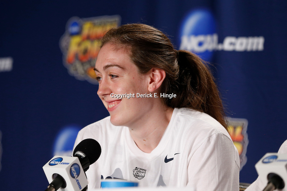 Apr 9, 2013; New Orleans, LA, USA; Connecticut Huskies forward Breanna Stewart (30) addresses the media in a press conference after the championship game in the 2013 NCAA womens Final Four against the Louisville Cardinals at the New Orleans Arena. Connecticut defeated Louisville 93-60. Mandatory Credit: Derick E. Hingle-USA TODAY Sports