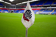 Bolton Wanderers corner flag. EFL Sky Bet League 1 match between Bolton Wanderers and Fleetwood Town at the University of  Bolton Stadium, Bolton, England on 2 November 2019.