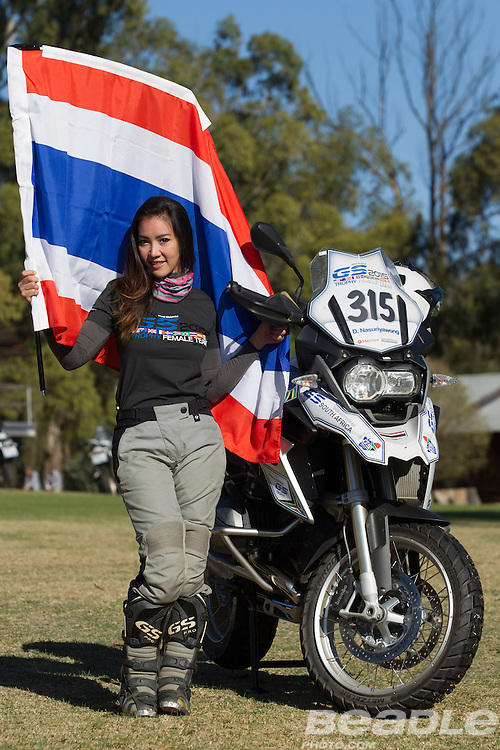 Dusita Nasuruyawong from Thailand participating in the inaugural GS Trophy Female qualifying event at the 2015 BMW Motorrad GS Trophy Female Team Qualifying Event held at Countrytrax Amersfoort, South Africa. Image by Greg Beadle