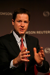 UK ENGLAND LONDON 11JAN10 - The leader of the Liberal Democrats, Nick Clegg speaks during a ThomsonReuters newsmakers event at the company's headquarters in Canary Wharf, London...jre/Photo by Jiri Rezac / ThomsonReuters..© Jiri Rezac 2010