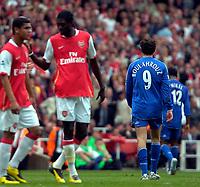 Photo: Ed Godden/Sportsbeat Images.<br /> Arsenal v Chelsea. The Barclays Premiership. 06/05/2007.<br /> Chelsea's Khalid Boulahrouz (centre), is sent off after his foul on Julio Baptista.