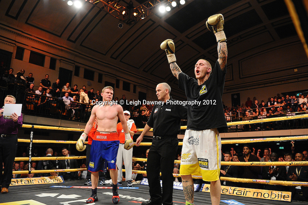 Terry Carruthers defeats Peter Vaughan in Quarter Final Three, Prizefighter at York Hall, Bethnal Green, London on the 1st November 2012. Frank Warren Promotions. © Leigh Dawney Photography 2012.