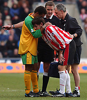 Photo. Javier Garcia<br />15/02/2003 Southampton v Norwich, FA Cup 5th Round, St. Mary's Stadium<br />Rory Delap is forced out of the game after a tackle from David Neilsen, who shows his support