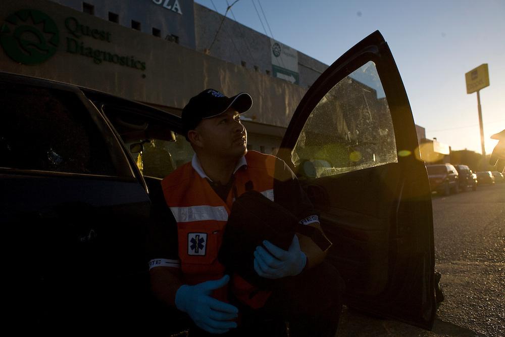 Paramedics respond to a call in Ciudad Juarez, Chihuahua Mexico on May 4, 2010. ..