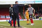 Grimsby Town Manager Michael Jolley pointing, directing, signalling as Grimsby Town defender Easah Suliman (16) is substituted during the EFL Sky Bet League 2 match between Grimsby Town FC and Port Vale at Blundell Park, Grimsby, United Kingdom on 10 March 2018. Picture by Mick Atkins.
