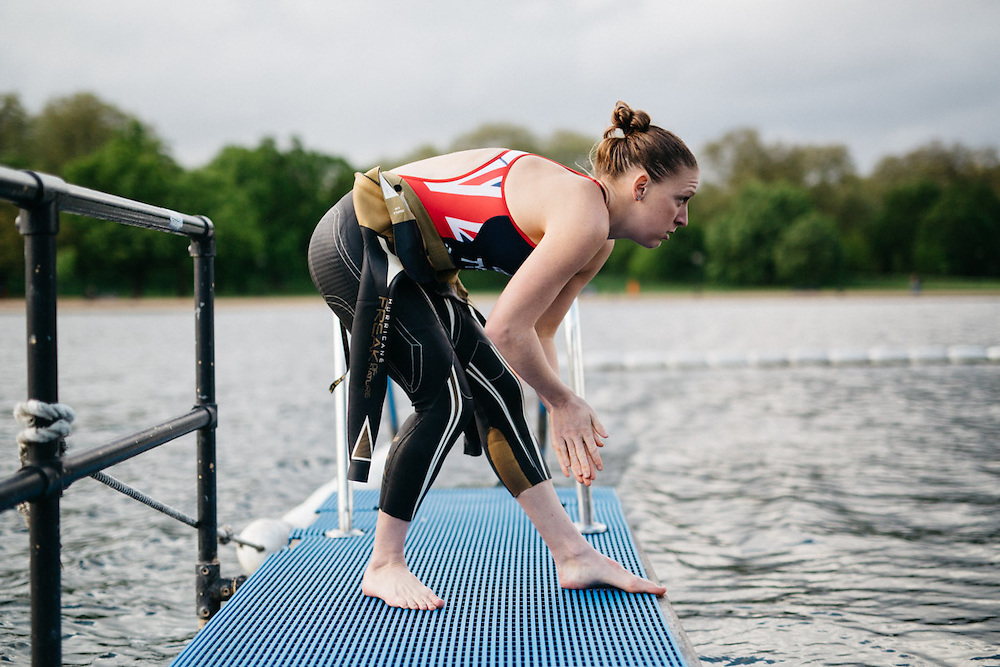 British professional triathlete Jodie Stimpson photographed at London's Serpentine Lido in Hyde Park. 6th May 2015, London. Photographed by Greg Funnell for the Financial Times.