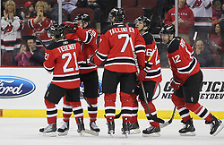 Apr 10; Newark, NJ, USA; The New Jersey Devils celebrate a goal by New Jersey Devils left wing Patrik Elias (26) during the first period of their game at the Prudential Center.