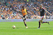 Hull City striker Abel Hernandez (9) takes a shot at goal  during the Sky Bet Championship match between Hull City and Rotherham United at the KC Stadium, Kingston upon Hull, England on 7 May 2016. Photo by Ian Lyall.