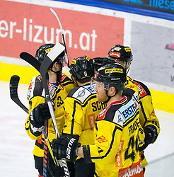 20.03.2018, Tiroler Wasserkraft Arena, Innsbruck, AUT, EBEL, HC TWK Innsbruck  die Haie vs Vienna Capitals, Playoff Viertelfinale, 6. Spiel, im Bild Torjubel nach dem 0:2 durch Rafael Rotter (Vienna Capitals)  // during the Erste Bank Erste Bank Icehockey 6th round quarterfinal playoff match between HC TWK Innsbruck  die Haie and Vienna Capitals at the Tiroler Wasserkraft Arena in Innsbruck, Austria on 2018/03/20. EXPA Pictures © 2018, PhotoCredit: EXPA/ Jakob Gruber