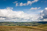 Sanquhar town seen from near Shiel Hill on the Southern Upland Way, Scotland