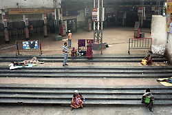 Homeless street dwellers rest at Sealdah Station (largest train station in the cetre of Kolkata) midst 21 days lockdown in India for Corona virus pandemic. Kolkata, West Bengal, India, Photo by Arindam Mukherjee/ABACAPRESS.COM.
