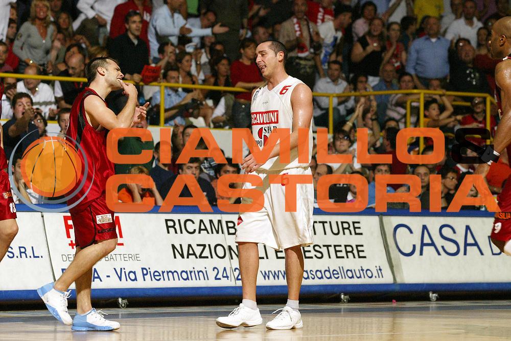 DESCRIZIONE : Pavia Lega A2 2006-07 Playoff Finale Gara 4 Edimes Pavia Scavolini Spar Pesaro<br /> GIOCATORE : Maximiliano Stanic Mauro Morri<br /> SQUADRA : Edimes Pavia Scavolini Spar Pesaro<br /> EVENTO : Campionato Lega A2 2006-2007 Playoff Finale Gara 4<br /> GARA : Edimes Pavia Scavolini Spar Pesaro<br /> DATA : 03/06/2007 <br /> CATEGORIA : Delusione<br /> SPORT : Pallacanestro <br /> AUTORE : Agenzia Ciamillo-Castoria/G.Cottini