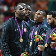 Lebron James, USA, with his Gold Medal during the Men's Basketball Final between USA and Spain at the North Greenwich Arena during the London 2012 Olympic games. London, UK. 12th August 2012. Photo Tim Clayton