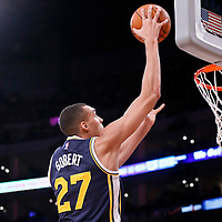 19 October 2014: Utah Jazz center Rudy Gobert (27) goes for the dunk during the Los Angeles Lakers 98-91 victory over the Utah Jazz, in a preseason game, at the Staples Center, Los Angeles, California, USA.