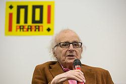 London, UK. 2nd March, 2019. Walter Wolfgang, 95-year-old  Vice-President of the Campaign for Nuclear Disarmament (CND) and refugee from Nazi Germany, prepares to address the ¡No Pasaran! Confronting the Rise of the Far-Right conference at Bloomsbury Central.
