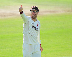 Jack Leach of Somerset signals to the crowd.  - Mandatory by-line: Alex Davidson/JMP - 04/08/2016 - CRICKET - The Cooper Associates County Ground - Taunton, United Kingdom - Somerset v Durham - County Championship