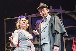 © London News Pictures. 11/12/2014. Potted Sherlock: all sixty Sherlock Holmes stories retold in eighty elementary minutes. Starring Dan Clarkson, Jeff Turner & Lizzie Wort.  At the Vaudeville Theatre. Picture features Dan Clarkson & Lizzie Wort. Photo credit: Tony Nandi/London News Pictures