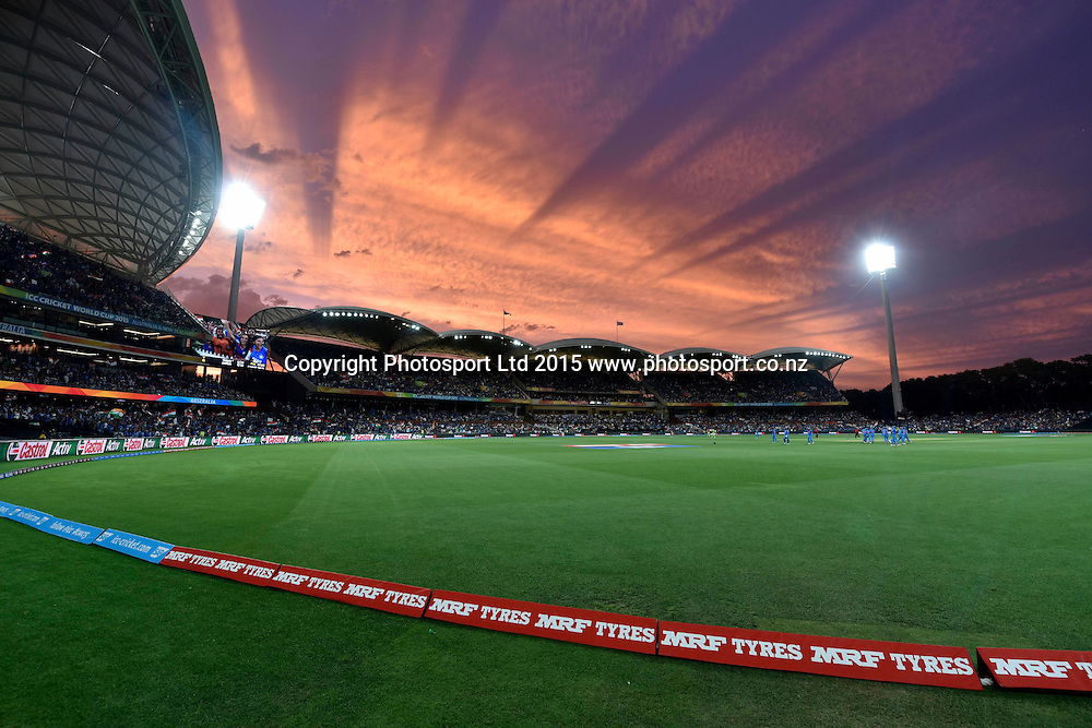 General View of the Adelaide Oval during the ICC Cricket World Cup match between India and Pakistan at Adelaide Oval in Adelaide, Australia. Sunday 15 February 2015. Copyright Photo: Raghavan Venugopal / www.photosport.co.nz