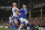 Crystal Palace forward Connor Wickham   challenges Everton defender Ramiro Funes Mori   during the Barclays Premier League match between Everton and Crystal Palace at Goodison Park, Liverpool, England on 7 December 2015. Photo by Simon Davies.