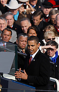 President Barack Obama delivers his Inaugural Address at the swearing in ceremony during the Inauguration on January 20, 2009.  Photograph:  Dennis Brack
