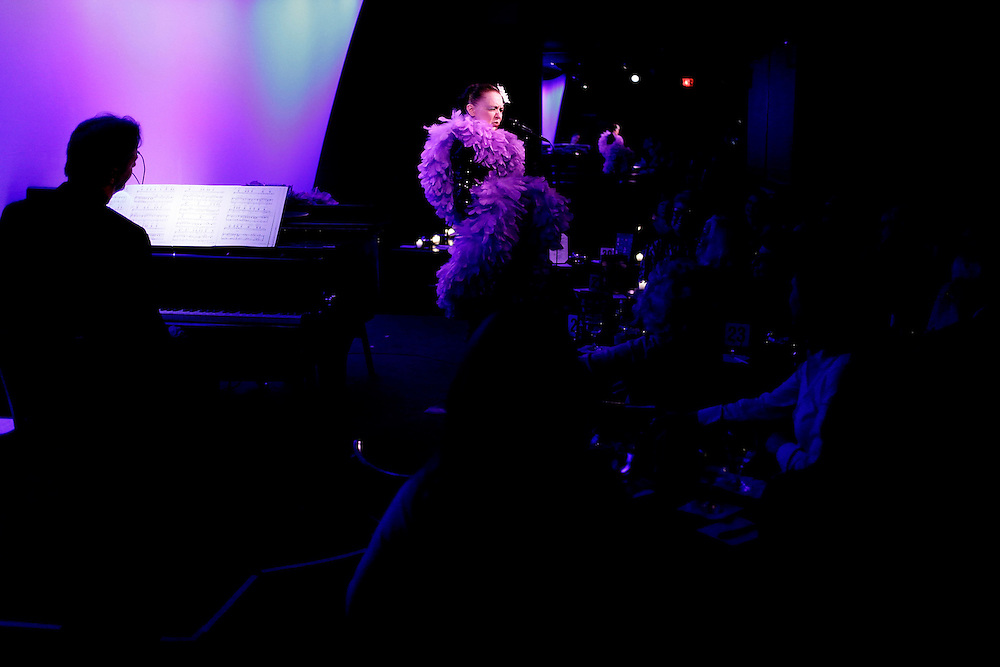 SInger Julie Wilson performs at the Metropolitan Room on March 5, 2009 in New York City. photo by Joe Kohen for The New York Times
