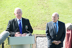CARDIFF, WALES - Wednesday, September 9, 2009: President Phil Pritchard speaks to the media alongside FIFA President Joseph Sepp Blatter at the opening of the Wales national team training pitch ahead of the FIFA World Cup Qualifying Group 3 match against Russia. (Pic by David Rawcliffe/Propaganda)