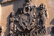 VOC coat of arms above gateway to Galle GFort. Galle.