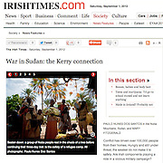 "Screengrab of ""War in Sudan: the Kerry connection"" published in The Irish Times"