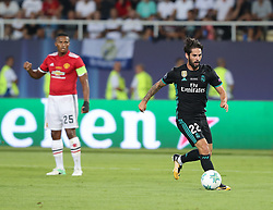 August 8, 2017 - Skopje, Macedonia - Isco of Real Madrid in action during the UEFA Super Cup match between Real Madrid and Manchester United at National Arena Filip II Macedonian on August 8, 2017 in Skopje, Macedonia. (Credit Image: © Ahmad Mora/NurPhoto via ZUMA Press)