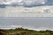 Nederland, the  netherlands, Velsen, 12-6-2018Zicht vanuit de duinen op een windmolenpark in zee .Foto: Flip Franssen