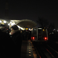 Passengers stand on the platform after having to vacate an over filled Washington Metro subway car at 4:52AM as too many riders tried to jam into the subway car for the ride into Washington, D.C. for the inauguration of Barack Obama as he is sworn in as the 44th President of the United States of America on Capitol Hill in Washington on January 20, 2009.    (Mark Goldman/ Goldmine Photos)