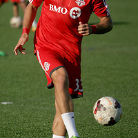 Toronto FC's Ryan Richter warms up  Wednesday June 18, 2014 at Legion Stadium in Wilmington, N.C. (Jason A. Frizzelle)