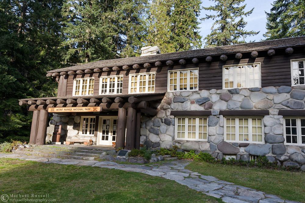 The historic Longmire Administration Building at Longmire in Mount Rainier National Park, Washington State, USA