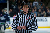 KELOWNA, CANADA - APRIL 25: Linesman, Dustin Minty stands on the ice at the Kelowna Rockets against the Seattle Thunderbirds on April 25, 2017 at Prospera Place in Kelowna, British Columbia, Canada.  (Photo by Marissa Baecker/Shoot the Breeze)  *** Local Caption ***
