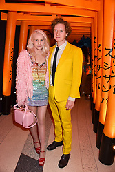 India Rose James and Hugh Harris at Sambazonia presented by Sushisamba and Cool Earth at SushiSamba, 110 Bishopsgate, City of London England. 28 February 2017.