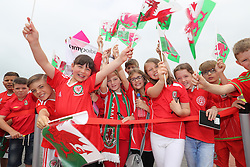 CARDIFF, WALES - Saturday, June 4, 2016: Students from Ysgoal Treganna give the Wales team a colourful send off at Cardiff Airport as the squad head to Sweden for their last friendly before the UEFA Euro 2016 in France. (Pic by David Rawcliffe/Propaganda)
