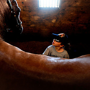 Cory Morrison of Madison Heights cleans her horse Fancy in preparation for a riding lesson at a youth camp at Windy Hill Farms.   The camps are held throughout the summer at the horse farm in Monroe, Va.