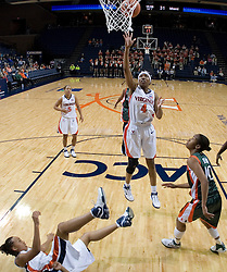 Virginia Cavaliers Center Siedah Williams (4) shoots against Miami.  The University of Virginia Cavaliers defeated the Miami Hurricanes Women's Basketball Team 73-60 at the John Paul Jones Arena in Charlottesville, VA on February 4, 2007.