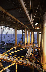 Stock photo of an offshore petroleum  production platform.