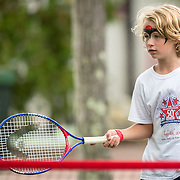 August 21, 2016, New Haven, Connecticut: <br /> A young fan plays mini tennis during Day 3 of the 2016 Connecticut Open at the Yale University Tennis Center on Sunday, August  21, 2016 in New Haven, Connecticut. <br /> (Photo by Billie Weiss/Connecticut Open)