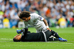 Marcelo of Real Madrid sees to his teammate Keylor Navas - Mandatory byline: Rogan Thomson/JMP - 04/05/2016 - FOOTBALL - Santiago Bernabeu Stadium - Madrid, Spain - Real Madrid v Manchester City - UEFA Champions League Semi Finals: Second Leg.